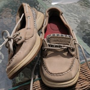 📚 Sperry Topsider beige, nautical anchor print